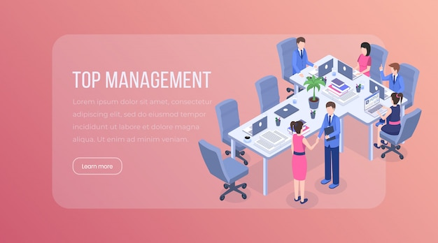 Top management isometric landing page.