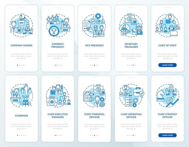 Топ-менеджмент внедряет экран страницы мобильного приложения с набором концепций