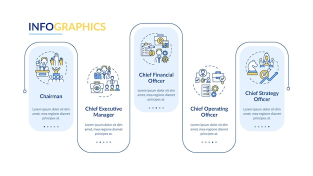 トップマネジメントはインフォグラフィックテンプレートを配置します。会長プレゼンテーションのデザイン要素。 5つのステップによるデータの視覚化。タイムラインチャートを処理します。線形アイコンのワークフローレイアウト