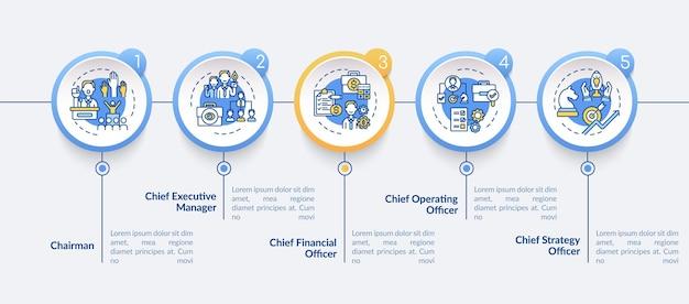 トップマネジメントはインフォグラフィックテンプレートを配置します。最高経営責任者のプレゼンテーションデザイン要素。 5つのステップによるデータの視覚化。タイムラインチャートを処理します。線形アイコンのワークフローレイアウト
