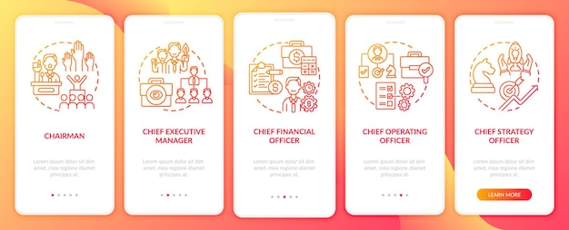 모바일 앱 페이지 화면 개념을 온 보딩하는 최고 경영진 위치. 최고 운영 책임자가 5 단계 그래픽 지침을 안내합니다. rgb 색상 삽화가있는 ui 템플릿