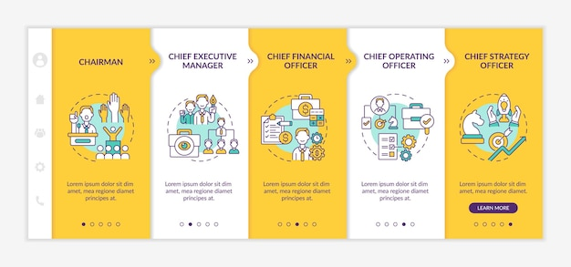 Top management positions onboarding  template. chief executive manager and financial officer. responsive mobile website with icons. webpage walkthrough step screens. rgb color concept