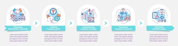 トップ管理タスクのインフォグラフィックテンプレート。会社の目標のプレゼンテーションデザイン要素を定義します。 5つのステップによるデータの視覚化。タイムラインチャートを処理します。線形アイコンのワークフローレイアウト