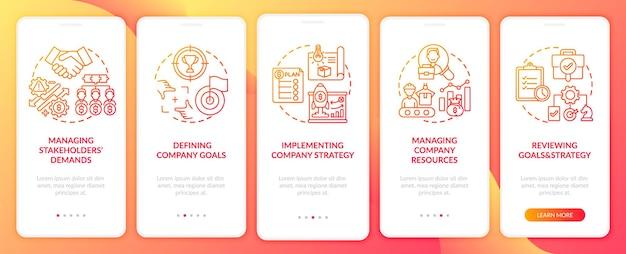 모바일 앱 페이지 화면 개념을 온 보딩하는 최고 관리 작업. 5 단계 그래픽 지침을 통해 회사 전략 연습을 구현합니다. rgb 색상 삽화가있는 ui 템플릿