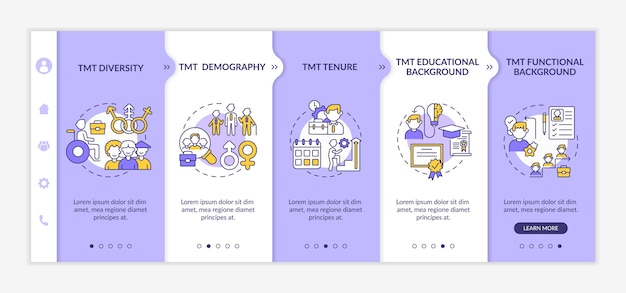 Top management team analysis criteria onboarding  template. tmt diversity and demography. responsive mobile website with icons. webpage walkthrough step screens. rgb color concept