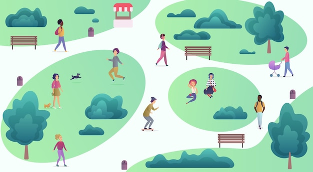 Top map view of various people at park walking and performing sport leisure outdoor activities. city park