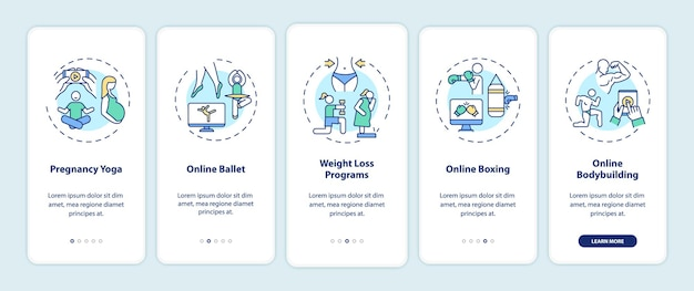 Top online workout programs onboarding mobile app page screen with concepts. pregnancy yoga, weight loss walkthrough 5 steps  ui  template with rgb color illustrations