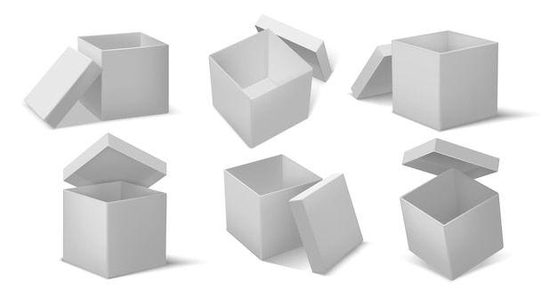 Top open box. realistic open and closed cardboard cube boxes mockup, package delivery