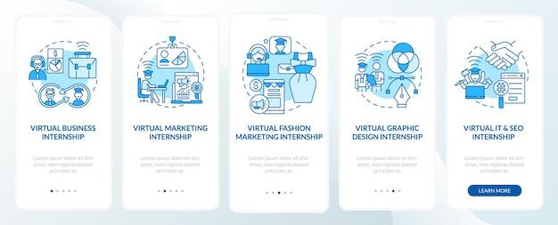모바일 앱 페이지 화면의 상위 원격 인턴십 필드 온보딩. 패션 마케팅 연습 개념이 포함된 5단계 그래픽 지침. 선형 컬러 일러스트레이션이 있는 ui, ux, gui 벡터 템플릿