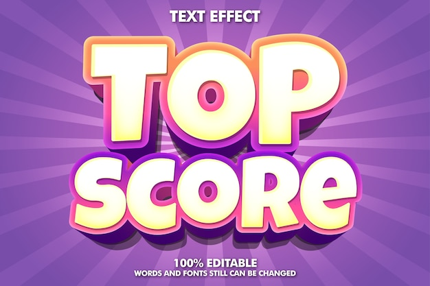 Top score banner - editable modern text effect