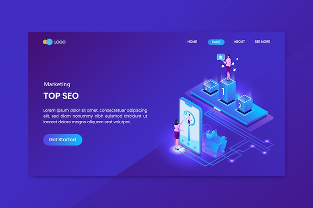 Top seo marketing isometric concept landing page