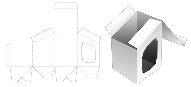 창 다이 컷 템플릿이있는 상단 경사 상자