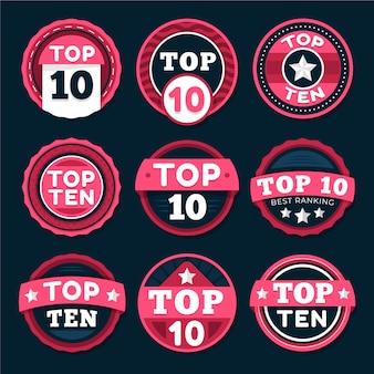 Top ten badges collection