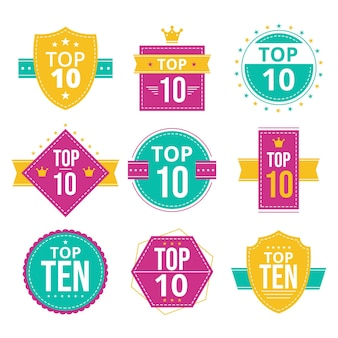 Top ten badges set