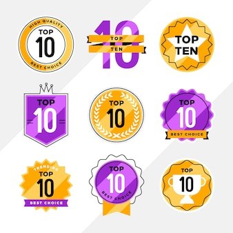 Top ten labels collection Free Vector