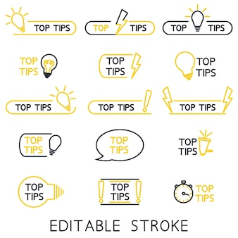 Top tips helpful tricks tooltip hint for website helpful idea outline icons