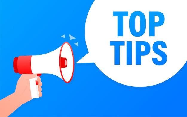 Top tips megaphone blue banner in flat style.   illustration.