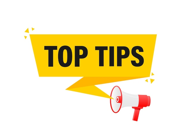 Top tips megaphone yellow banner in 3d style    illustration.