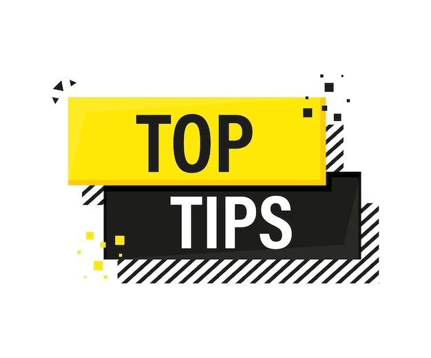 Top tips megaphone yellow banner in 3d style on white