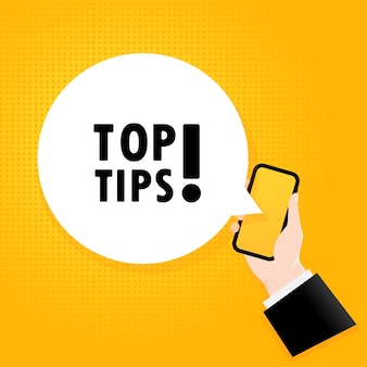 Top tips. smartphone with a bubble text. poster with text top tips. comic retro style. phone app speech bubble. vector eps 10. isolated on background.