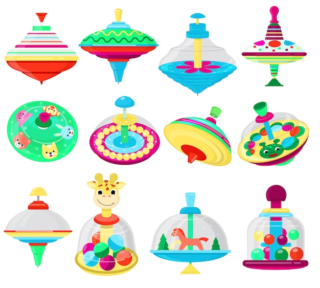 Top toy vector kids whirligig humming spinner colorful spinning playing game with peg-top character set of cartoon childish twirl whipping-top and whirlabout