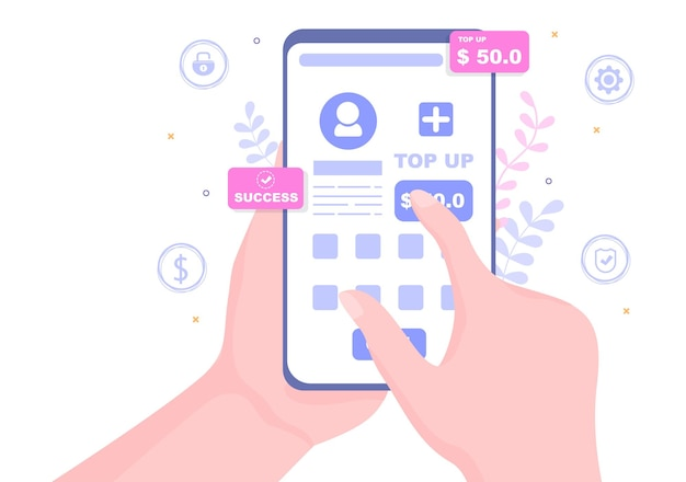 Top up add your money balance vector illustration on mobile phone device for financial application, e-wallet or digital currency concept