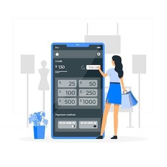 Ricaricare l'illustrazione del concetto di credito