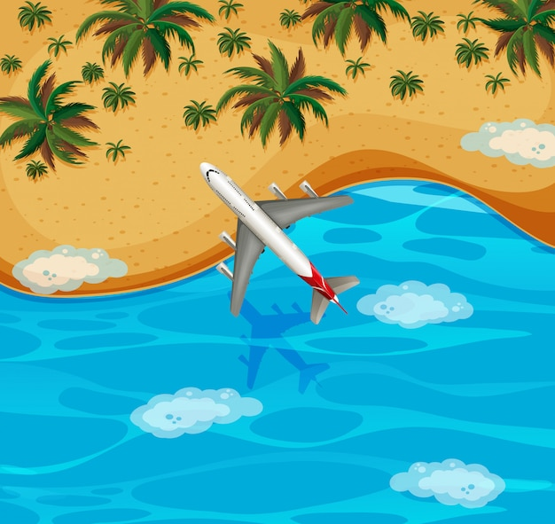 Top view of airplane flying over the beach