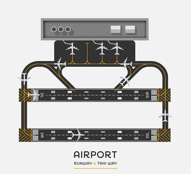 Top view of airport runway and taxi way with airplane