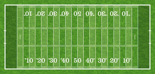 Top view american football field with line and realistic grass texture