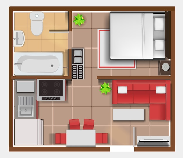 Top view apartment interior detailed plan
