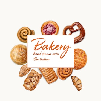 Top view bakery illustration