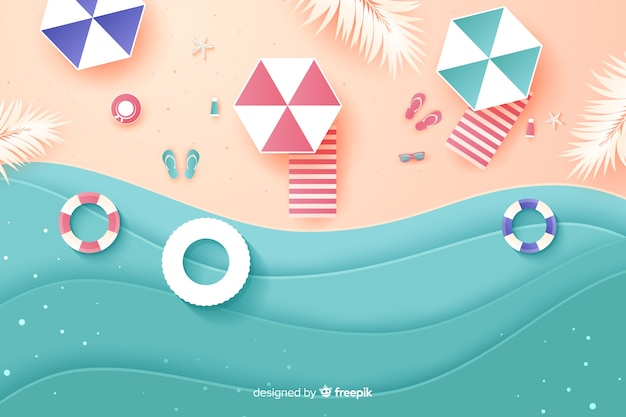 Top view of a beach in paper style Free Vector