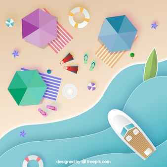 Top view of beach with origami style