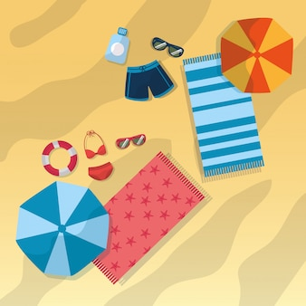 Top view beach with swimsuits umbrella sunglasses towels and bottle sunscreen