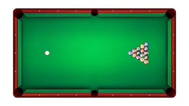 Top view of billiard table and billiard balls