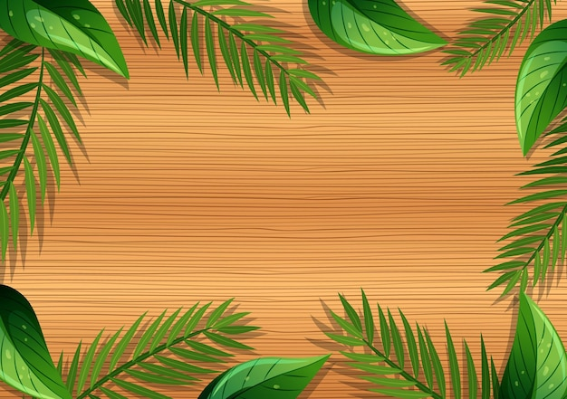 Top view of blank wooden table with leaves elements