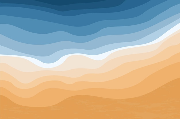 Top view of the blue sea and sandy beach ocean waves abstract stylish tropical coastline