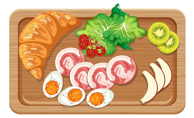 Top view of breakfast set in a cutting board isolated