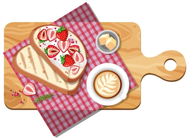 Top view of breakfast set on a cutting board isolated