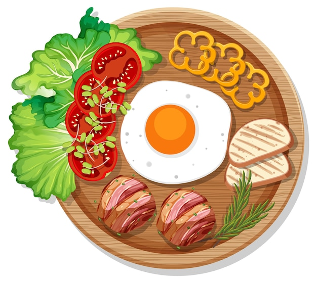 Top view of breakfast set in a dish in cartoon style isolated