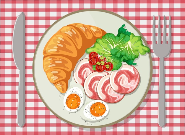 Top view of breakfast set in a dish