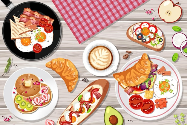 Top view of breakfast set on the table