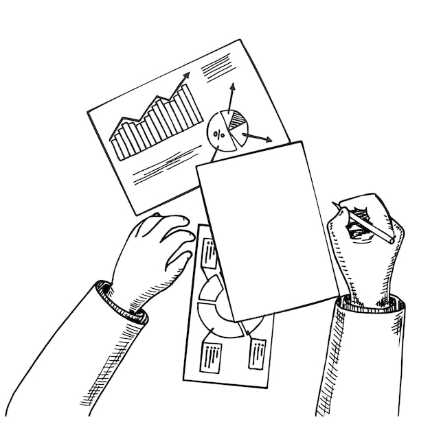 Вид сверху бизнес-аналитик или аудитор, работающий над бумажными статистическими документами с электронными таблицами
