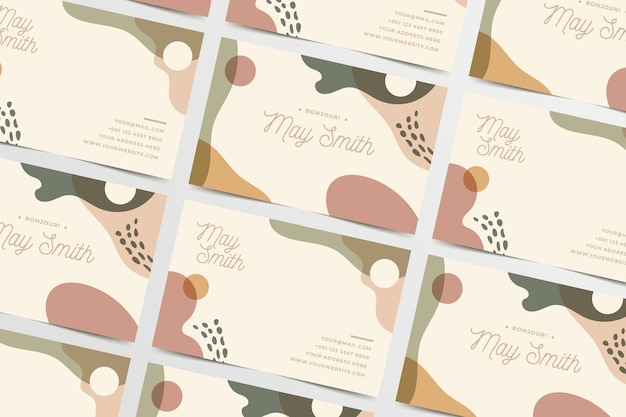 Top view business card template with watercolour stains