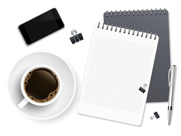 Top view business coffee break with notepad, phone and cup of coffee
