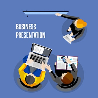 Top view business presentation illustration.