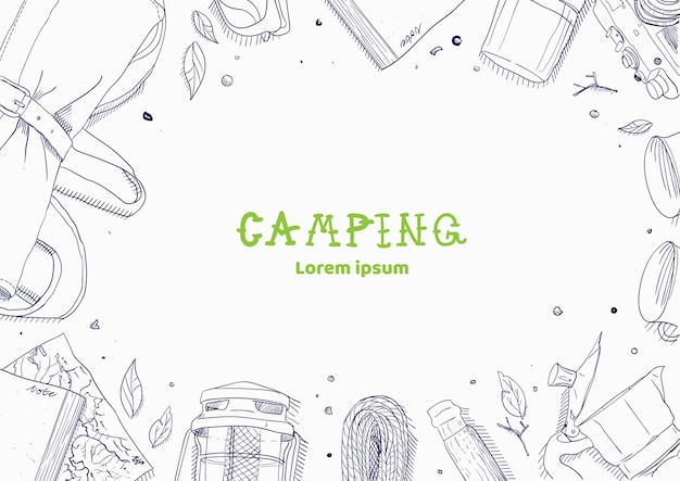 Top view of camping stuff
