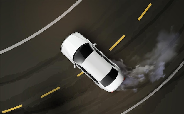 Top view of car drifting on a curve