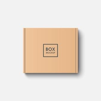 Макет картонной коробки, вид сверху, изолированные на белом фоне